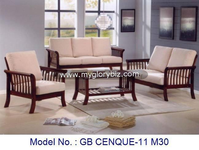 Juego de sala sofa set sof de madera muebles de madera for Salas de madera modernas