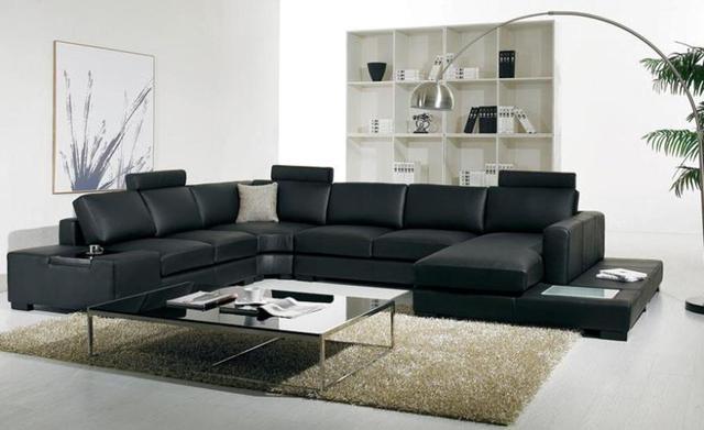 noir en cuir canap moderne grande taille en forme de u avec lumi re led table basse de fa on. Black Bedroom Furniture Sets. Home Design Ideas