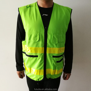Heavy duty multi pocket surveyors reflective safety vest
