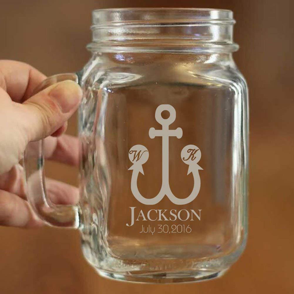 Personalized Mason Jar with Handle Custom Wedding Mason Jar Gifts for Couples Anchor Design Mason Jar Accessories Jar Mugs for Gifts for Men and Women 16oz