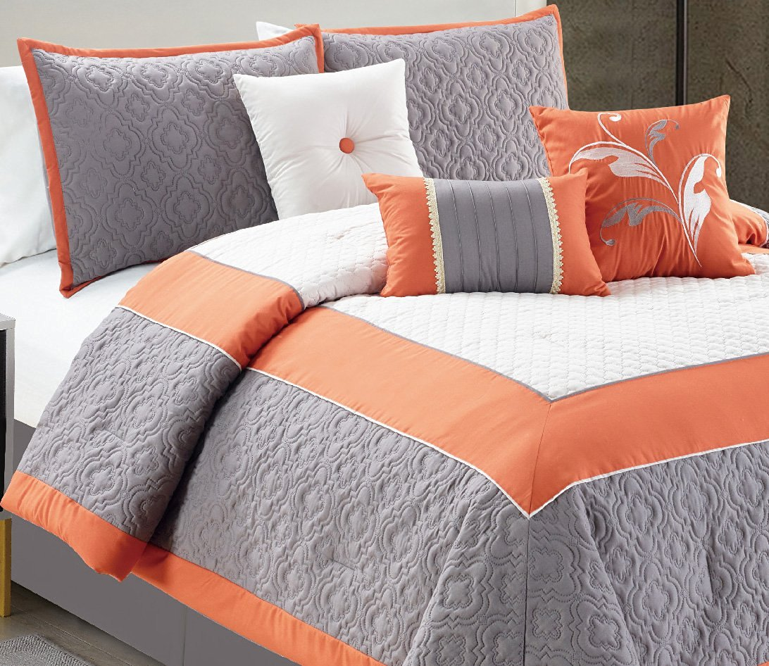 Buy Modern 7 Piece California Cal King Bedding Orange White Grey Color Block Quilted Comforter Set With Accent Pillows In Cheap Price On Alibaba Com