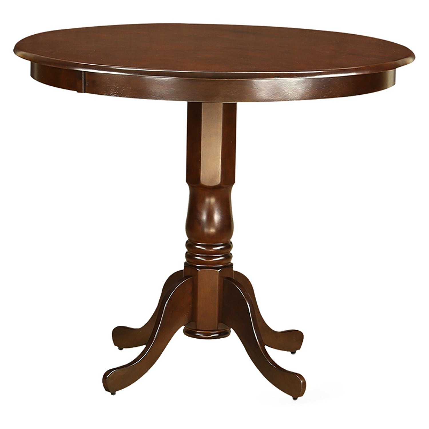 45 Inch Round Pedestal Counter Height Dining Table, Constructed of Solid Wood, This Dining Table is Supported by a Pedestal Base for Stable Use, Transitional Design Elements, Sleek Shape