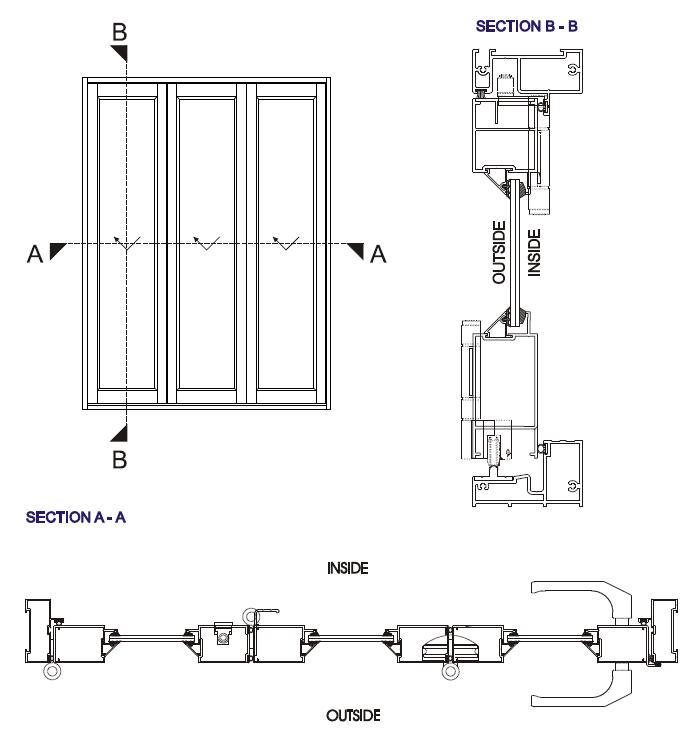 Gloriours Design Aluminum Bifold Folding Sliding Glass Door