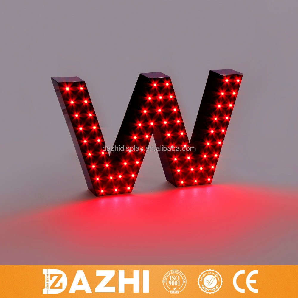 Easy to mount colorful LED illuminated led open sign punched metal alphabet letter sign ourdoor marquee letters in large size