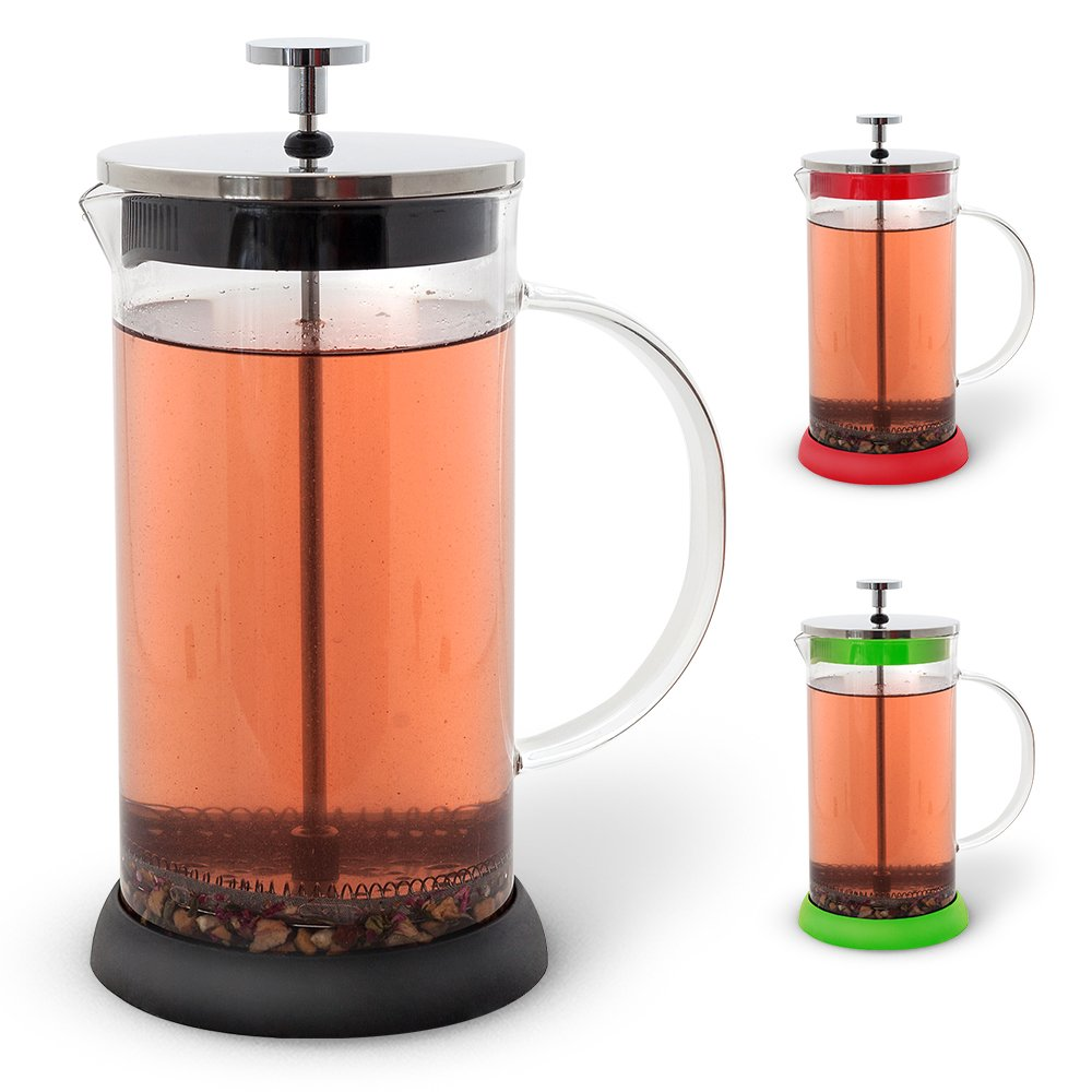 Teabloom French Press 36 oz. - CLEARANCE - All Glass Body Coffee and Tea Press, Stainless Steel Tea & Coffee Maker (Black)