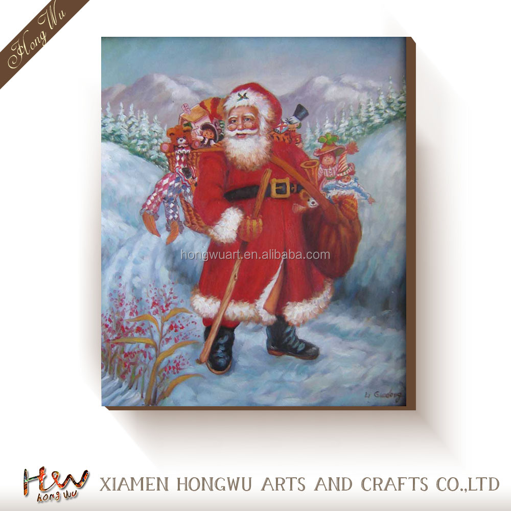 Christmas Gifts Drum Motion Santa Claus Wall Art Oil Painting on Canvas