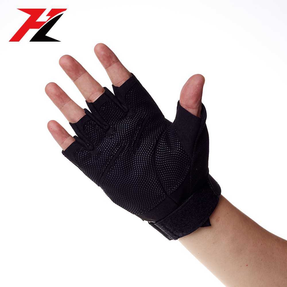 Custom Anti-Slip Weight Lifting Cross Training Bodybuilding Gym Fitness Workout Gloves with Wrist Wraps