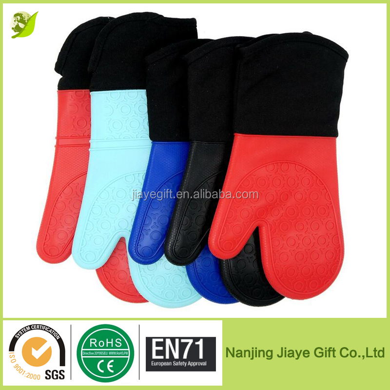 Extra Long Quilted Cotton Lining High Quality Silicone Oven Gloves