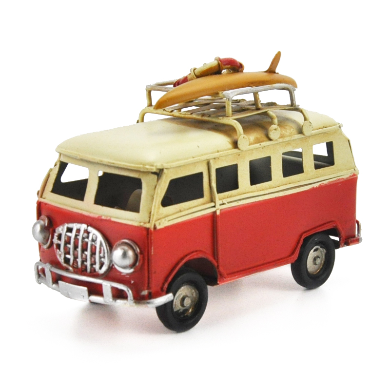 Retro Tin Bus Model Diecast Nostalgic Creative Mini Bus Figurines Children Toys Home Decoration Gifts
