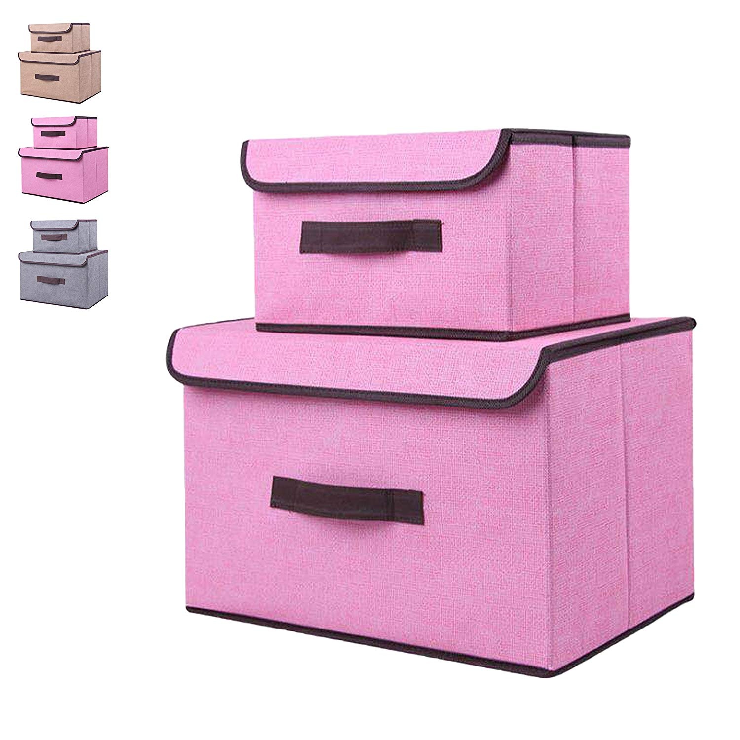 Storage bin with lid, storage bins with lids storage box with lid (2 pack),set of two foldable storage bins, collapsible , storage cubes bins baskets, bedroom toys clothes office kid room non-woven