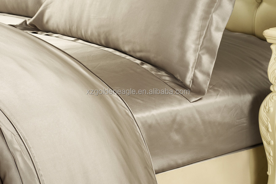 Taupe Charmeuse Silk Sheet Set Seamless 100% Mulberry Silk Bed Linen Sets