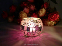 pink color mosaic votive glass tealight candle holder