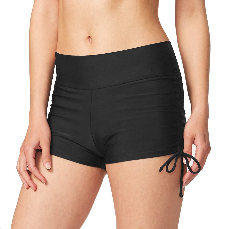 ef9348bd1fd5b Get Quotations · Baleaf Women's Basic High Waisted Boy Short Swim Bikini  Tankini Bottom with Liner