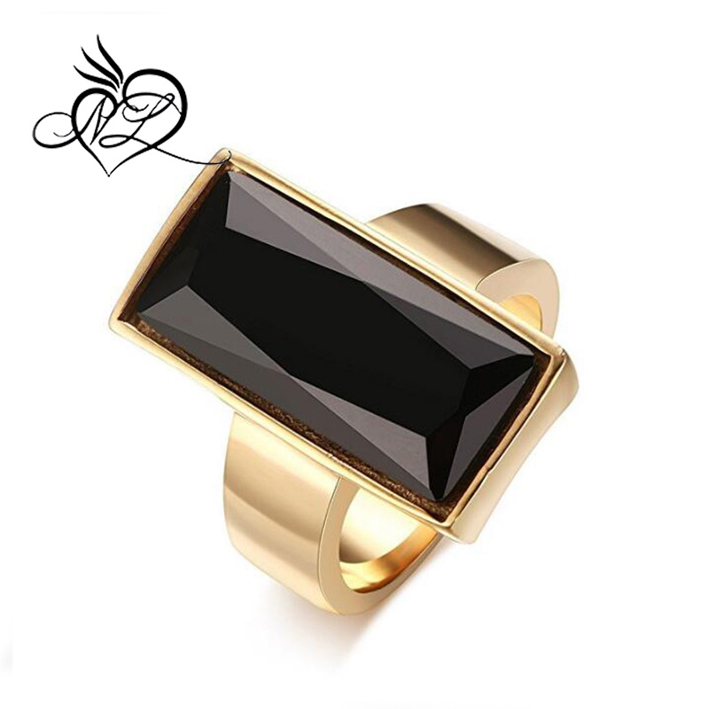 Stainless Steel Gold Plated Rectangular Black Glass Crystal Ring for Women