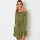 Graceful Fashion Solid Color Slim Off Shoulder Casual Knit Belt Ladies Autumn Sweater Dress