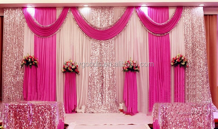 LZB082 cheap baby pink birthday party decoration drapes and pipe curtain for sale
