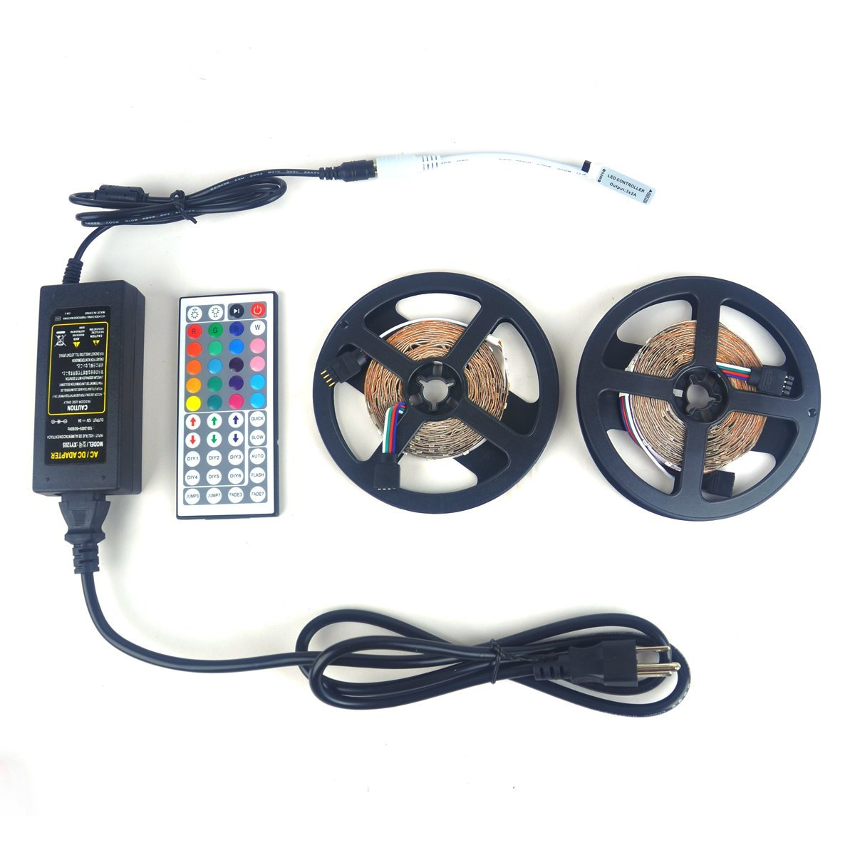 LTROP 2 Reels 12V LED Strip Lights Kit, 32.8ft Non-waterproof SMD 3528 RGB 600 LED Light Strip with Mini 44 Key Controller and 12V 5A Power Supply
