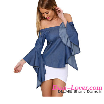 a377230b636b Sexy Off The Shoulder Denim Jean Jeans Bell Sleeve Smock Swing Blouse Shirt  Top Blue