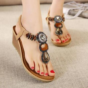 aa1dfe84ce Bohemia style new arrivals wedges women's shoes handmade beaded women  summer sandal