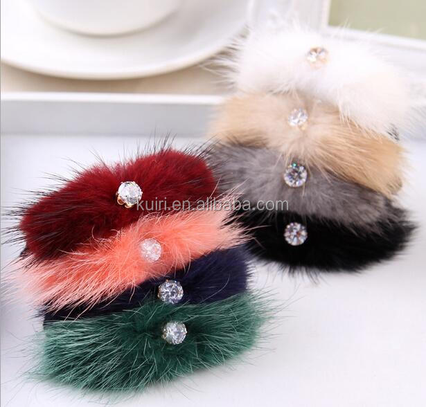 Wholesale Cheap Mink Fur Elastic Hair Ring with Silk Ribbons for Fashion Girls Hair Ring Accessory-24