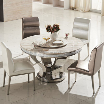 DH 824 Wholesale White Round Quartz Granite Top Dining Table Set