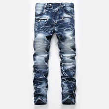 Lederen patch denim jean voor man jean pant