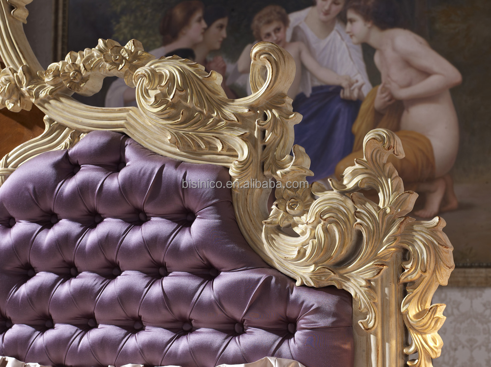 Solid Beech Wood Hand Carved Royal Rococo Bedroom Furniture