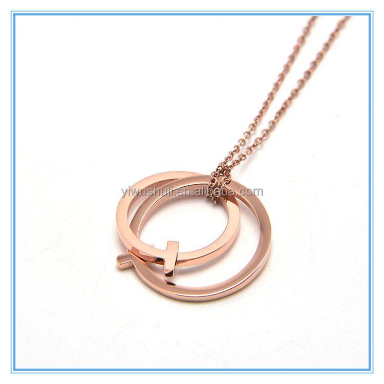 Unique double circles cross pendant necklace 18K rose gold stainless steel necklace
