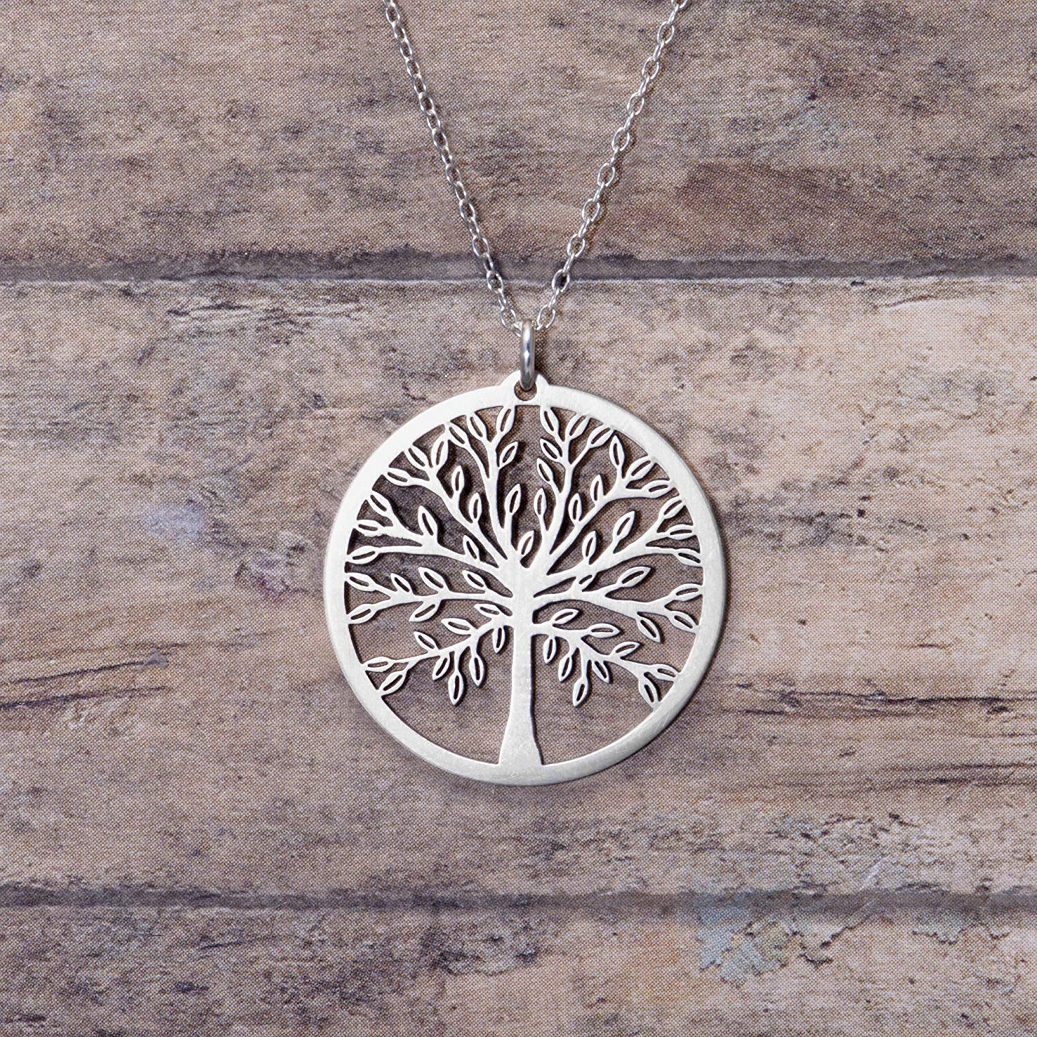 Silver Plated Forever in My Heart Hollow Pendant Necklace Elegant Jewellery Gifts for Women 45cm Necklace Chain Silver Morenitor Tree of Life Necklace