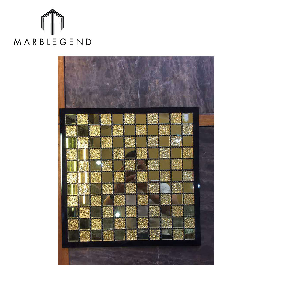 PFM stainless steel metal frame mix frosted glass mosaic tile
