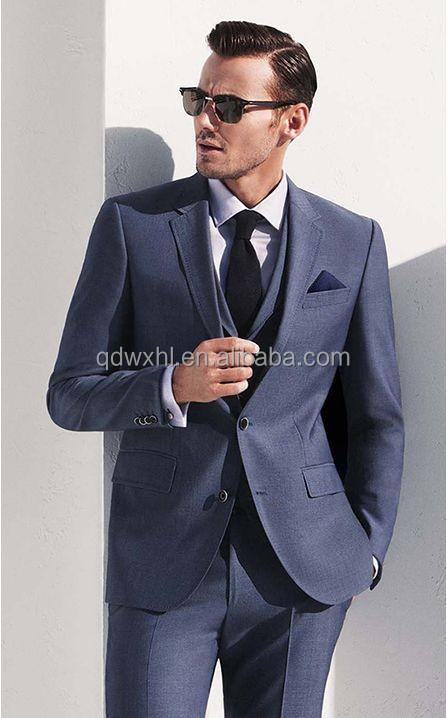 New Arrival Royal Blue Woolen Fabrics Coat Pant Men Suit 3 Pieces