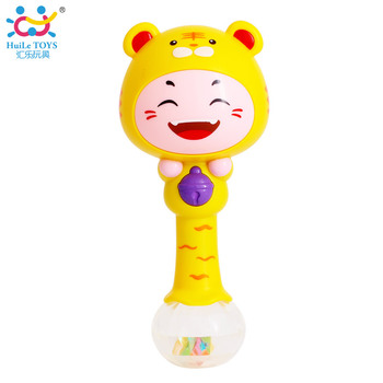 Huile 3101 Adorable Animal Baby Rattle with Music/Light Baby Musical Instrument Toys with 12 Different Animals