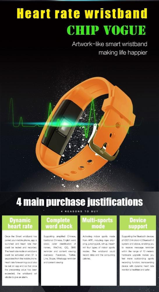 S1 Bluetooth Smart Band Wristband Heart Rate IP67 Waterproof Smartband Bracelet For Android IOS Phone