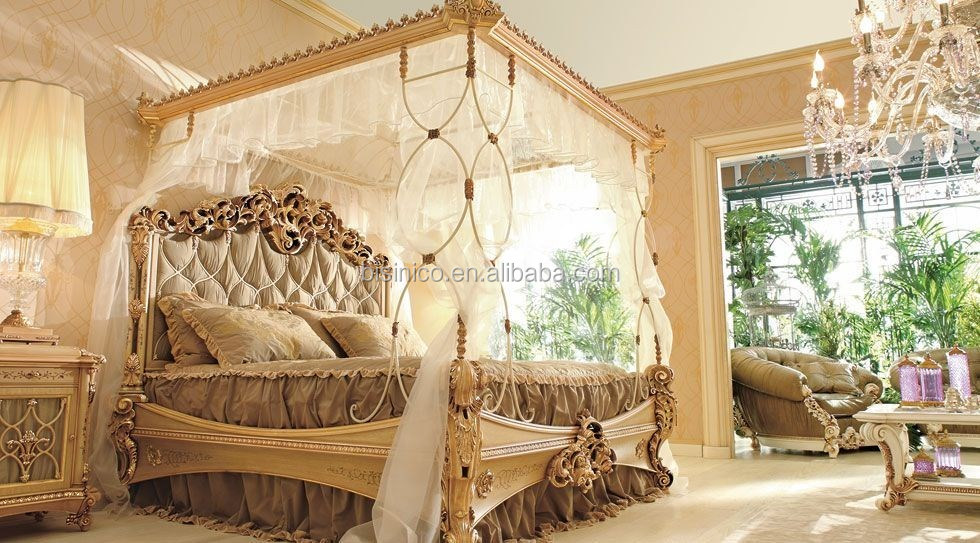 Royal Place Golden Color Wooden Four Poster Canopy Bed