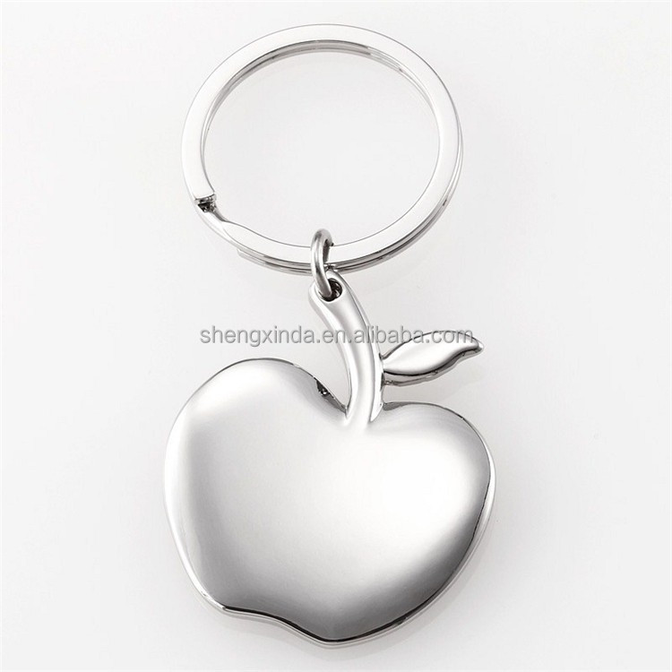 Metal Blank Silver Apple Shape Key Chain Wholesale