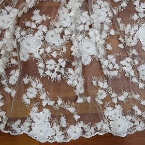 White luxury beads crystal lace top quality handwork white bridal lace fabric beaded embroidery 3d flower HY0868-4