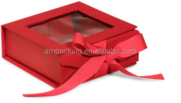band schlie ung starre pappe rosa klapp geschenkbox mit sichtfenster f r weihnachtsgeschenk. Black Bedroom Furniture Sets. Home Design Ideas
