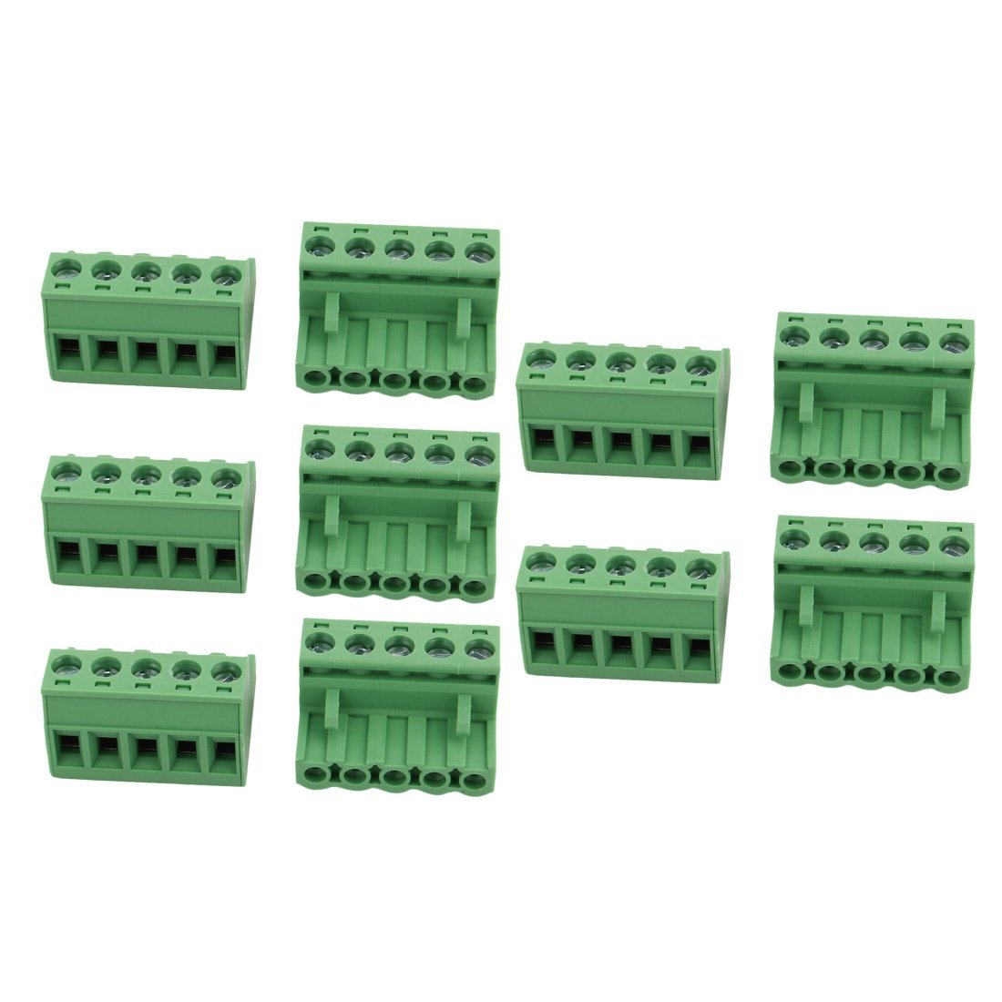 uxcell 10Pcs LC1 AC300V 15A 5.08mm Pitch 5P PCB Terminal Block Wire Connection