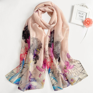 2017 New Fashionable 30% Silk And 70% Wool Shawls and Wraps printed wool silk scarf