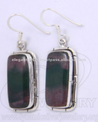Ready stock 925 Silver earrings sterling silver earrings ruby zoisite