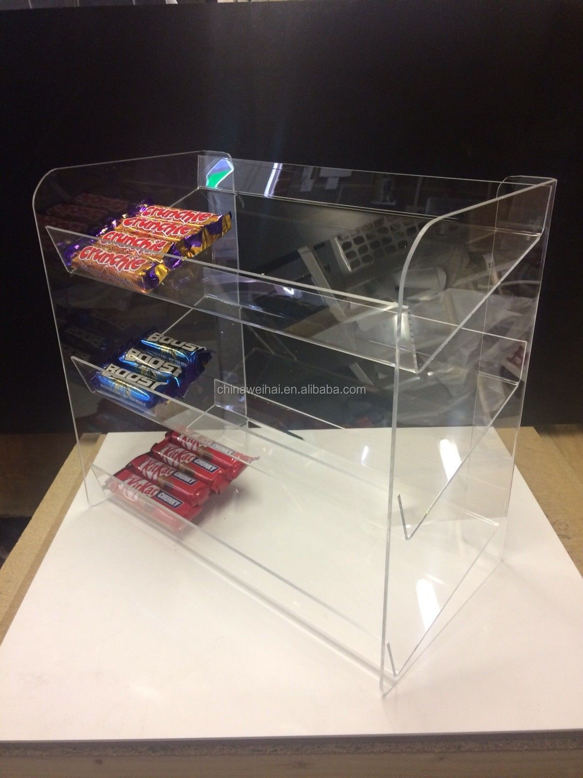 Counter Confectionery Chocolate Display Unit Stand Clear 3 Shelves