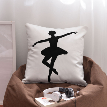 Sublimation Blank Black Ballet Square Cotton Polyester Blend Simple Protective Pillow Covers