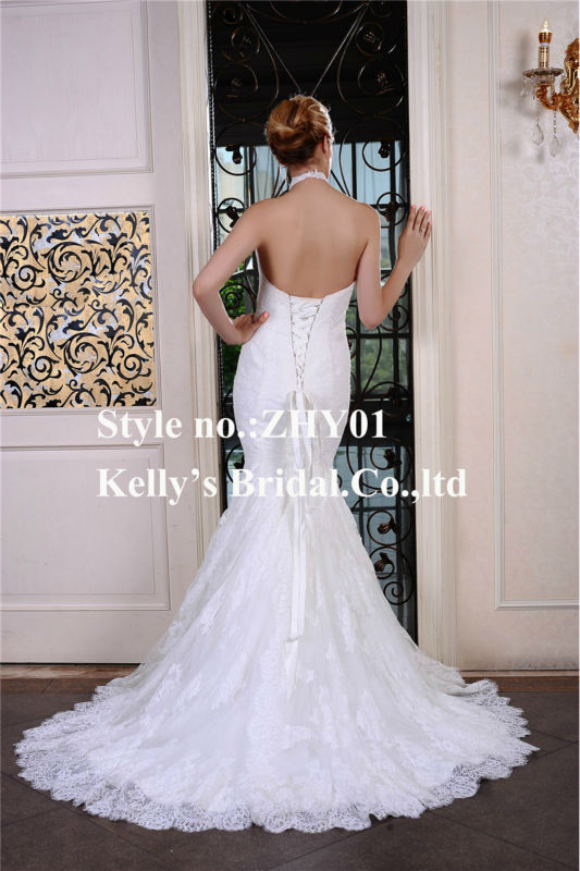 7887ca9561b3 halter top neckline make of french lace mermaid skirt leopard print wedding  dress