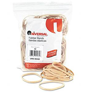 Universal : Rubber Bands, Size 32, 1/8 x 3, 185 per 1/4lb Box -:- Sold as 2 Packs of - 185 - / - Total of 370 Each