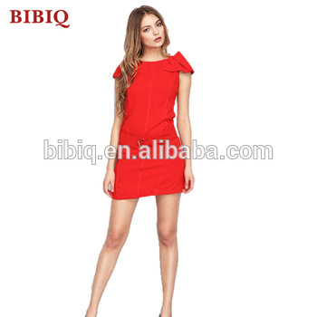 Simple Red Dress Sexy Wedding Guest Dress Waist Belt With Chiffon Overlay Elegant Christmas Party Dress Buy Red Short Wedding Dress Red Christmas