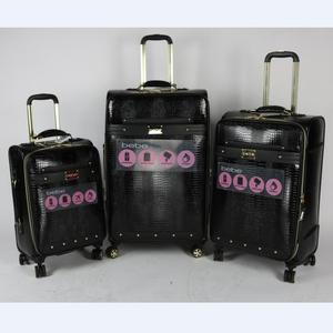 4 wheels 3pcs travel bags trolley PU suitcase PU luggage set