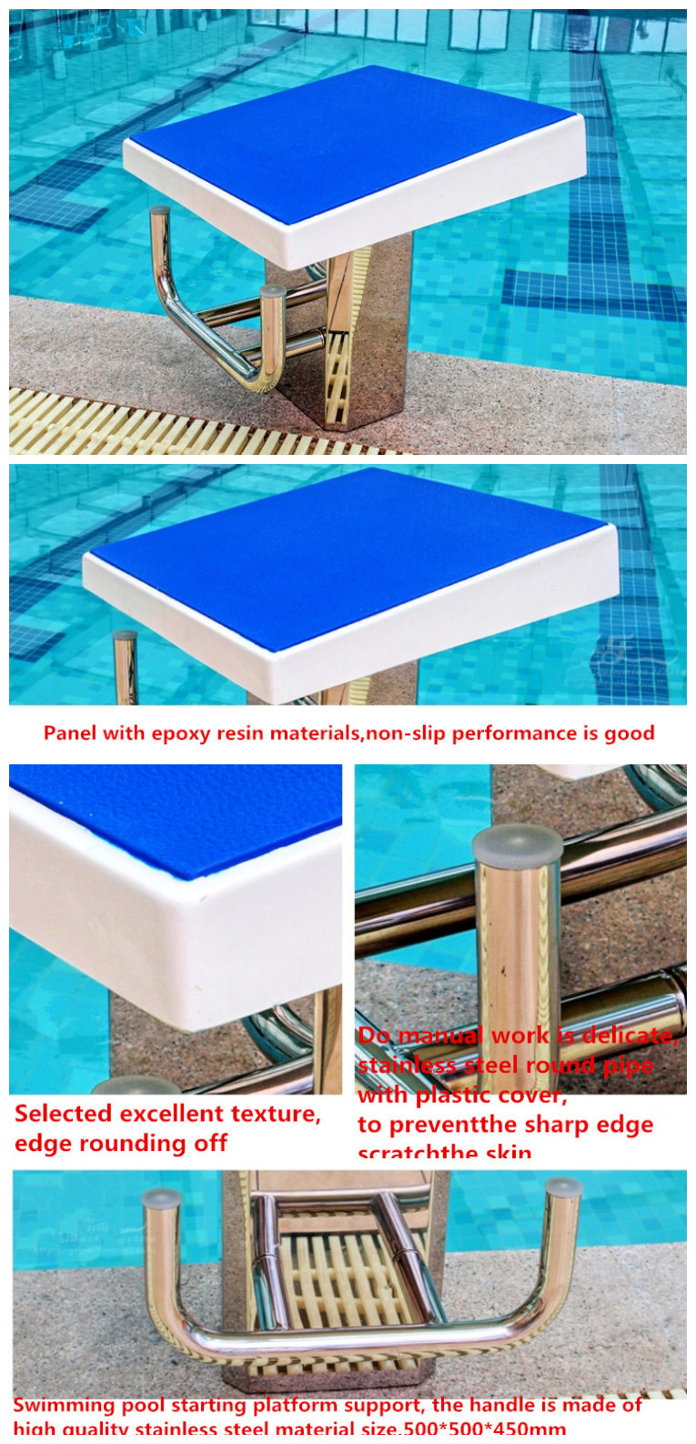 2015 bottom price manufacturer fiberglass olympic swimming start block for swim pool