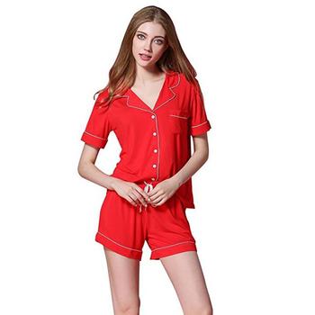 Women s Pajamas Short Sleeve Sleepwear Soft Baggy Style Modal Cotton Sleep  Set Ladies Loungewear fc7dd12de
