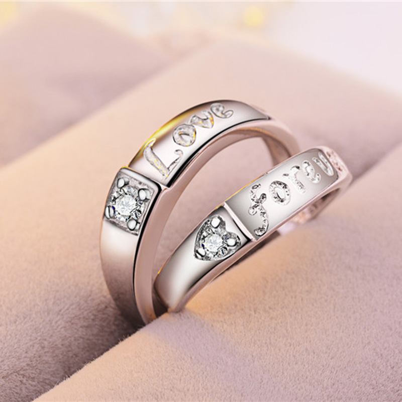 Couple Jewelry Custom Engraved Silver Crystal Fashion Letter Engagement Ring for Lovers