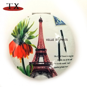 Paris Tourist Souvenirs Unbreakable Cheap Cosmetic Round Pocket Mirror